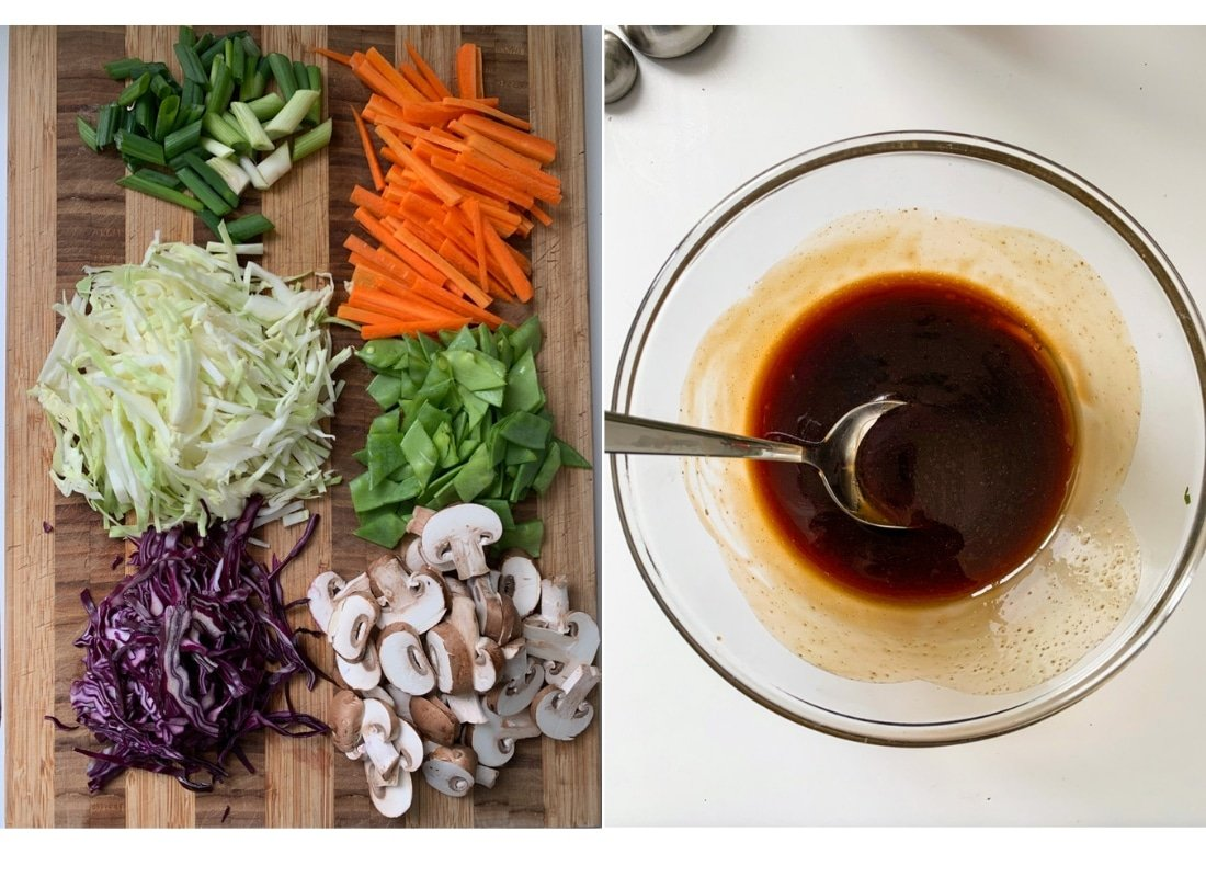 A photo collage of moo shu stirfry sauce and chopped vegetables.