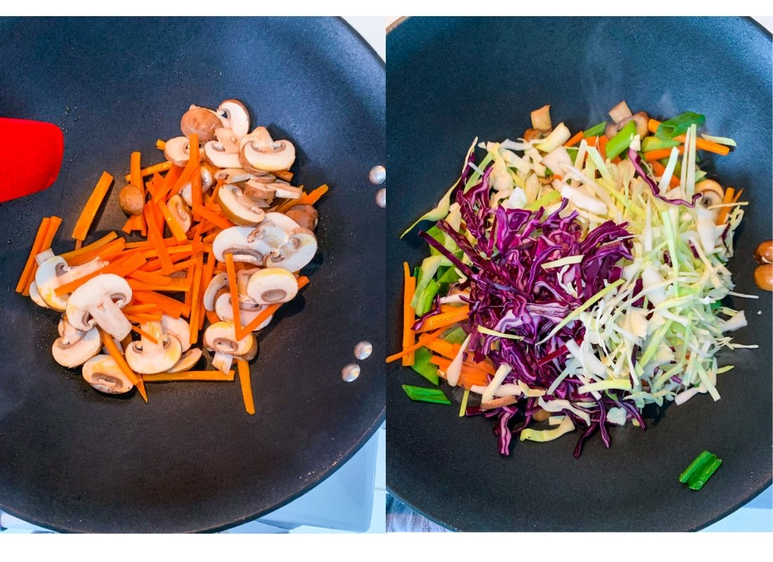 A photo collage of stir-frying vegetables in a wok.