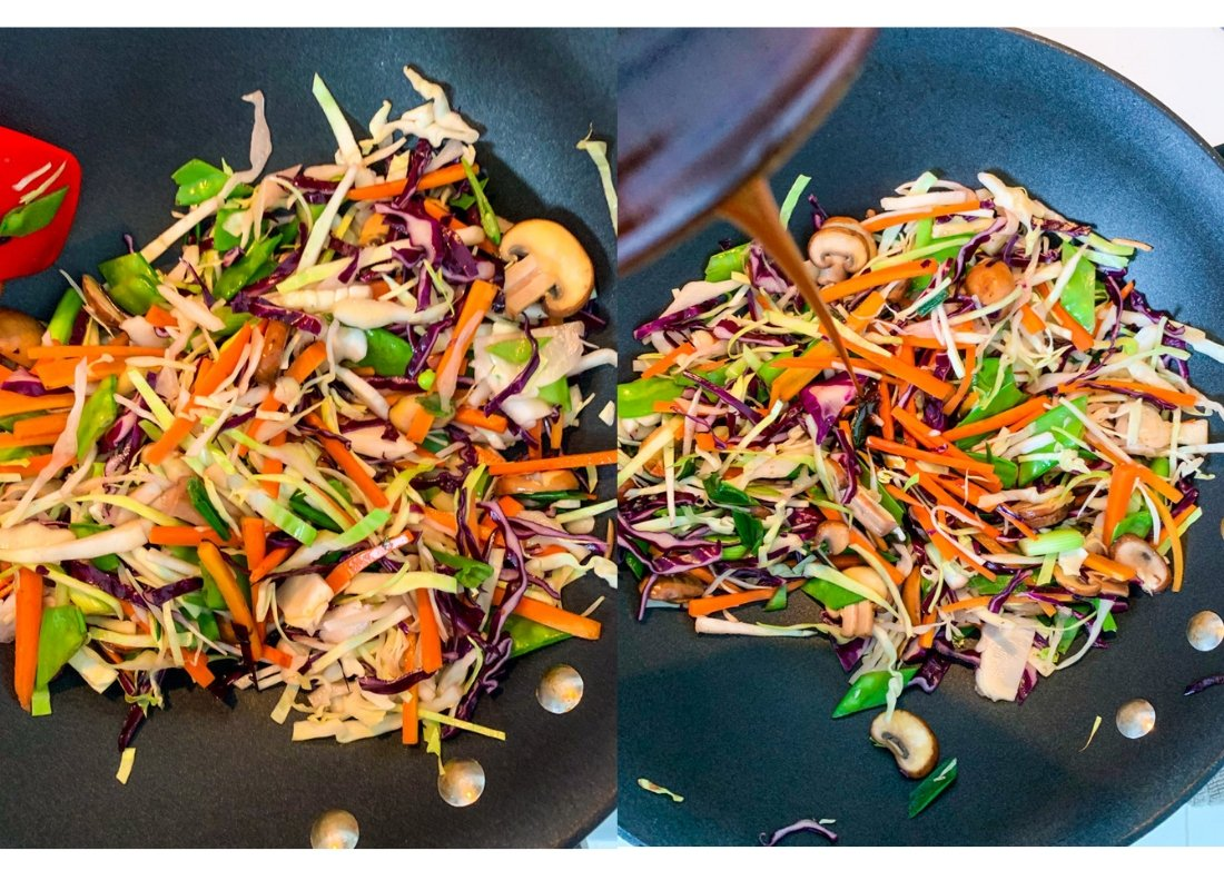 A photo collage of stir-frying veggies and pouring moo shu sauce on to them in a wok.