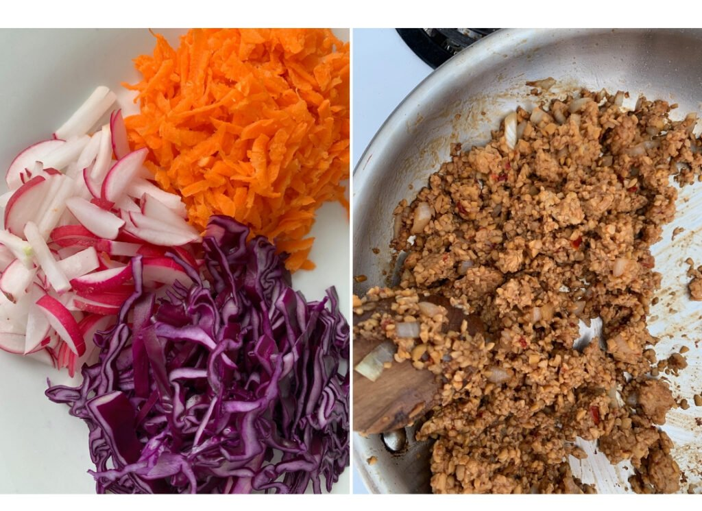 a collage of prepared shredded vegetables and crumbled tempeh cooking in a pan.
