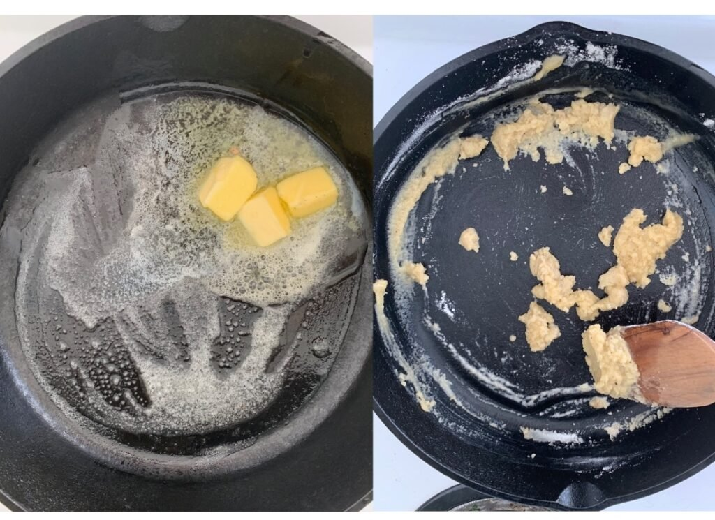process shots of cooking the roux