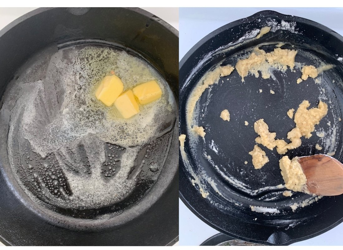a photo collage of cooking roux for mac and cheese.