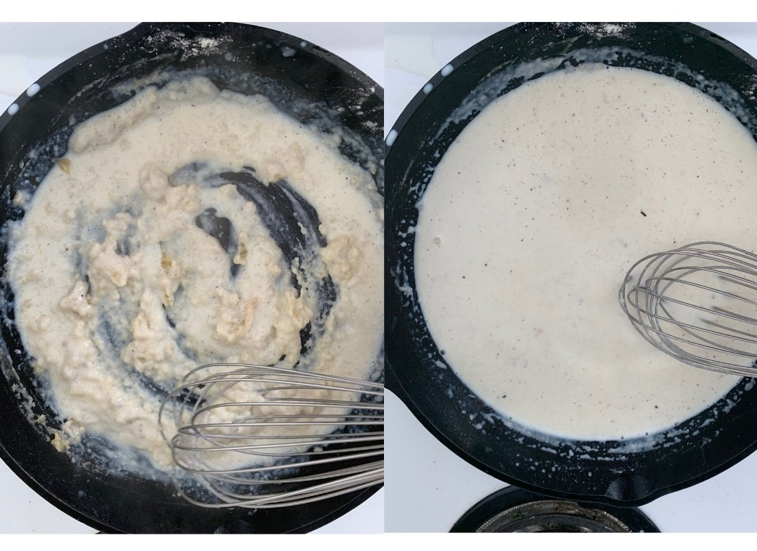 A photo collage of stirring milk into roux.