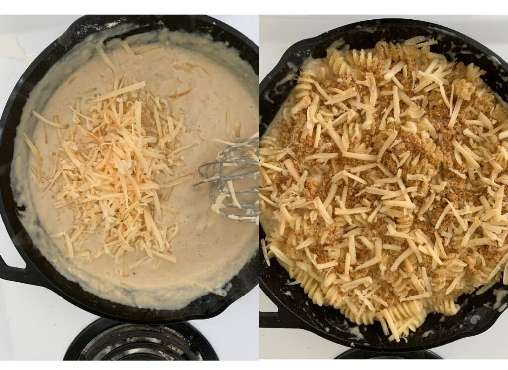 process shots of finsihing the cheese sauce and the mac and cheese ready to broil
