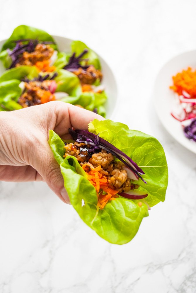 A hand holding a lettuce wrap with a plate of lettuce wraps and toppings in the background.