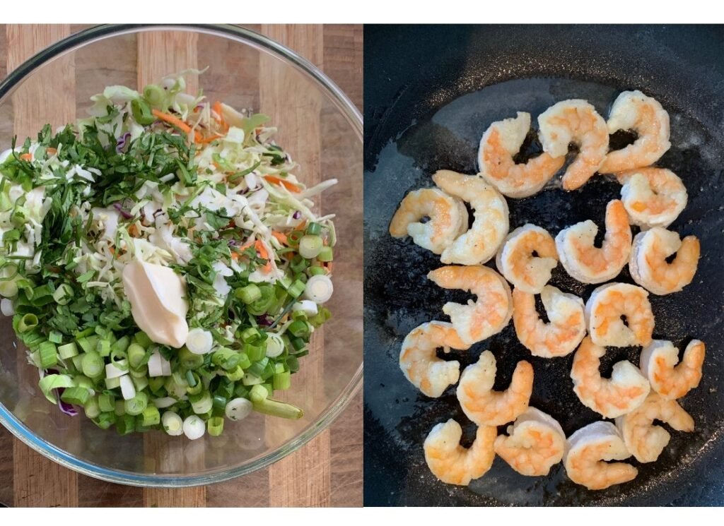 a photo collage of ingredients for cilantro slaw in a bowl and shrimp cooking in a pan