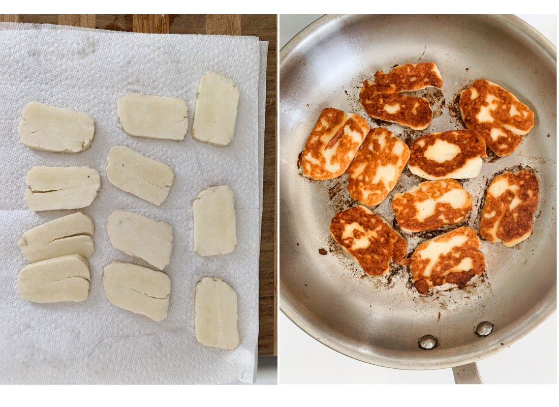 A photo collage of halloumi cheese drying on paper towel and halloumi cheese frying in a pan.