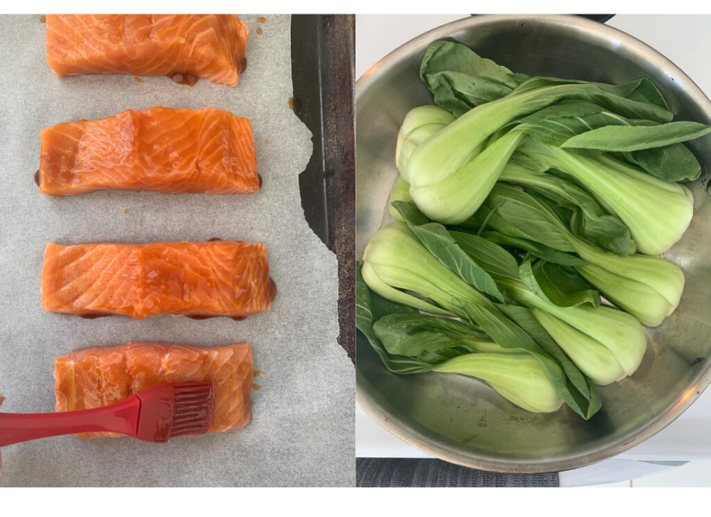 a collage of salmon on a baking sheet and bok choy in a skillet