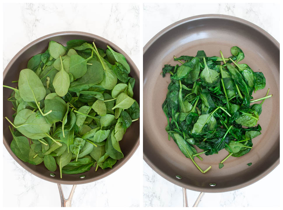 spinach wilting in a pan