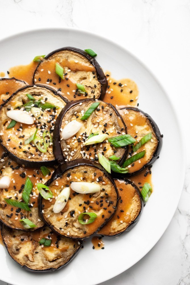 oven roasted eggplant rounds drizzled with miso sauce