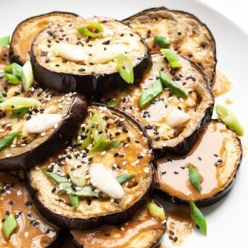 oven roasted miso eggplant drizzled with miso sauce