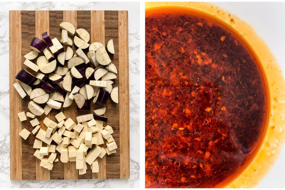 a collage of chopped tofu and eggplant and a bowl of spicy black bean sauce