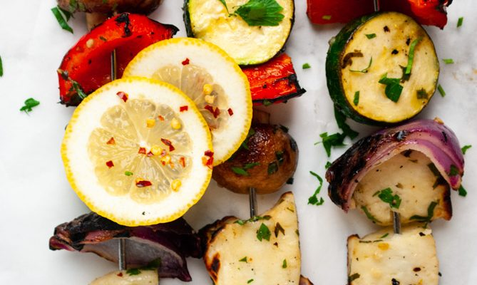 a close up view of freshly grilled halloumi kebabs