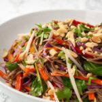 a bowl of rainbow Thai noodle salad