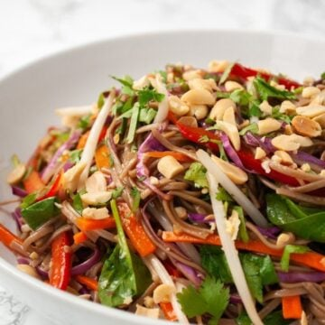 a bowl of rainbow Thai noodle salad