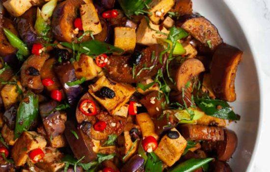 Spicy Black Bean Tofu and Eggplant