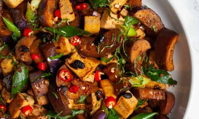 Spicy Black Bean Tofu and Eggplant