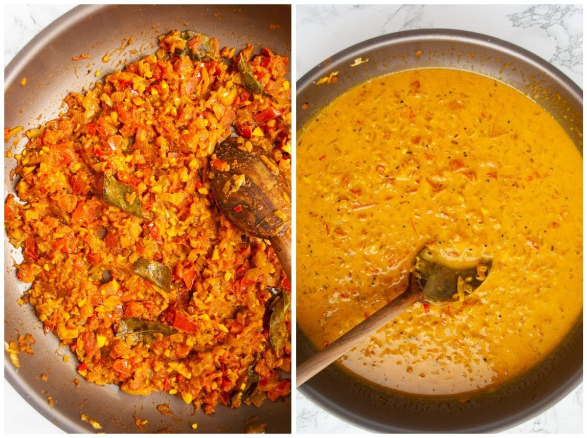 cooked durban curry paste and the sauce after adding coconut milk
