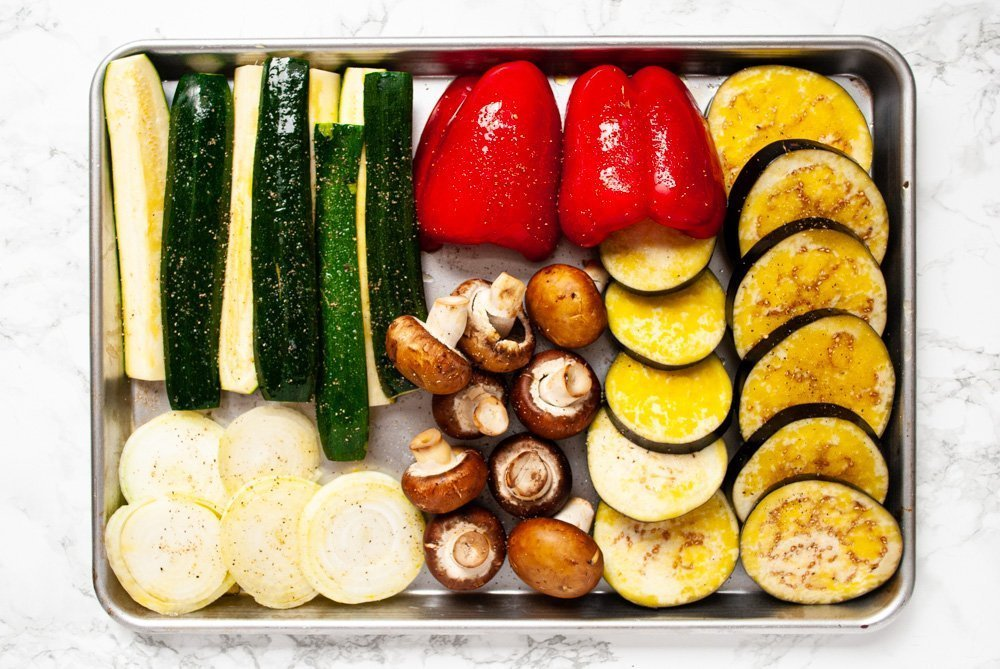 sliced and oiled veggies waiting to be grilled