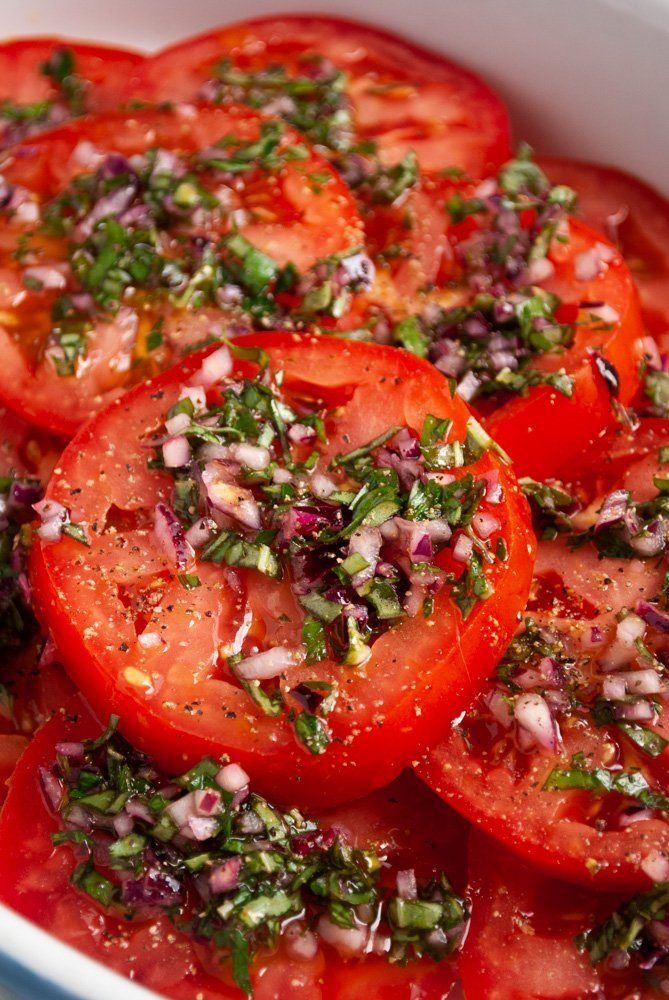 a plate of Italian marinated tomato salad