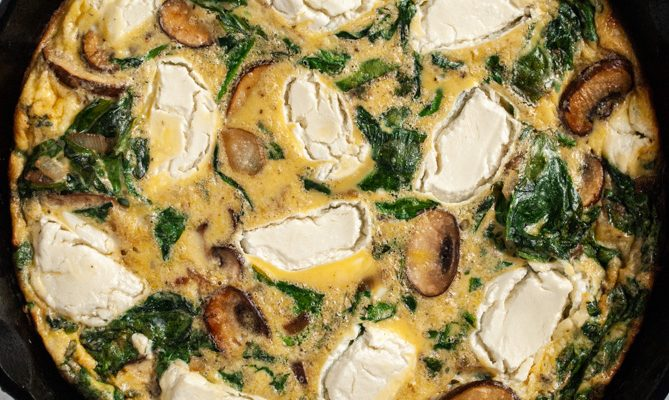Mushroom and Spinach Frittata with Goat Cheese