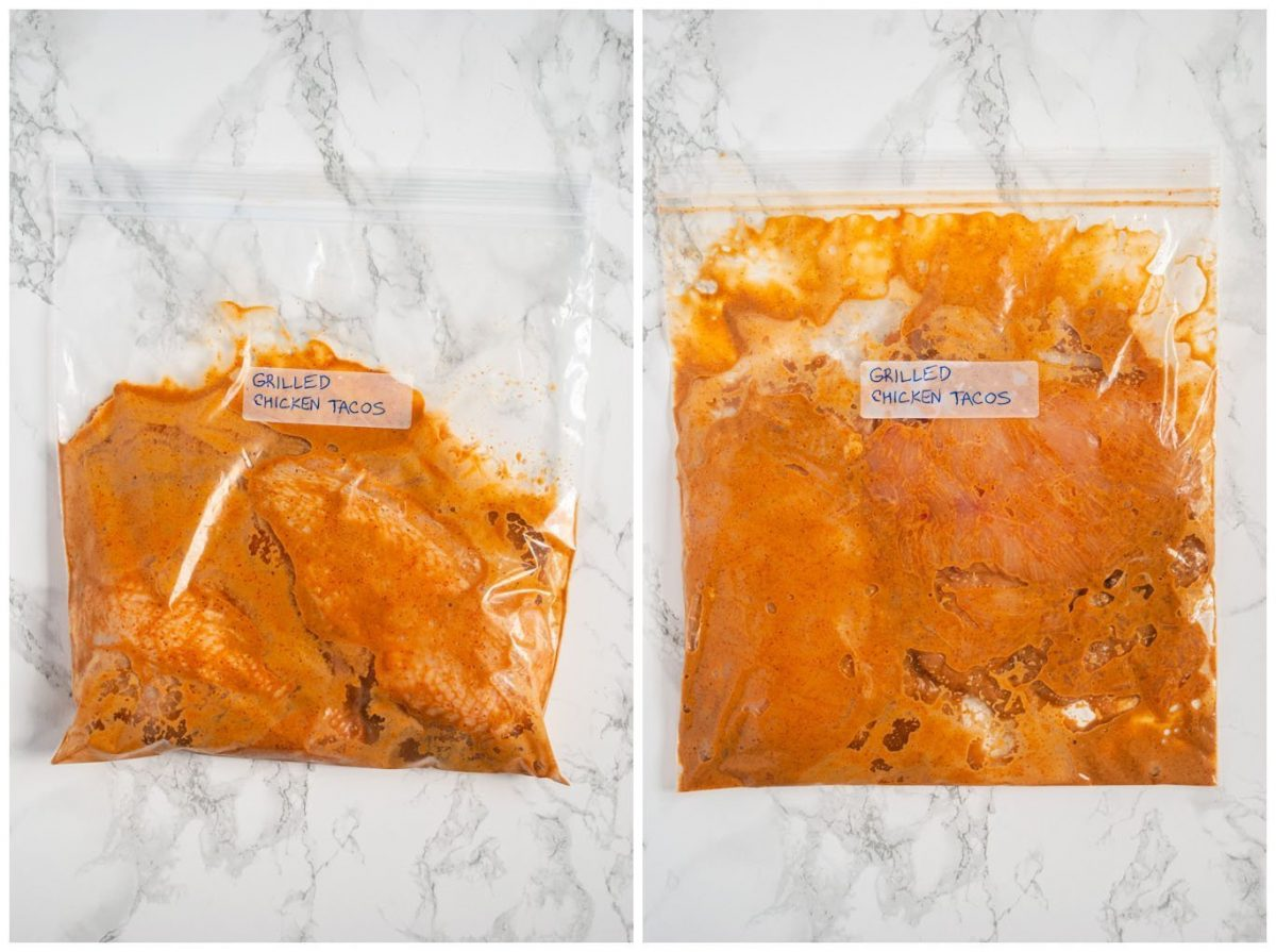 marinating chicken breasts in a plastic bag