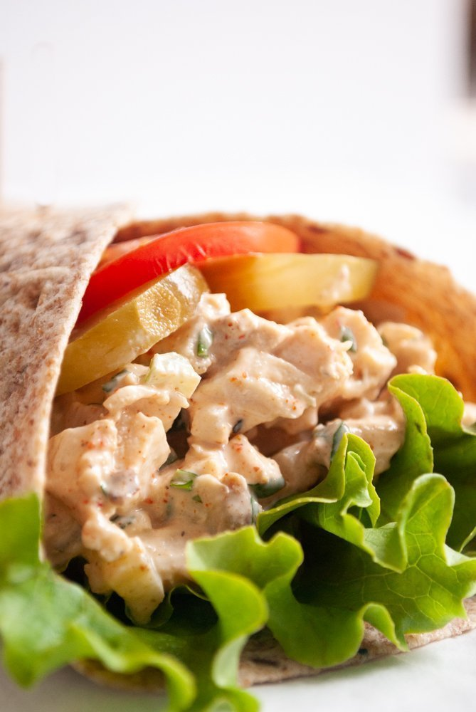 a close up of the chicken salad wrap