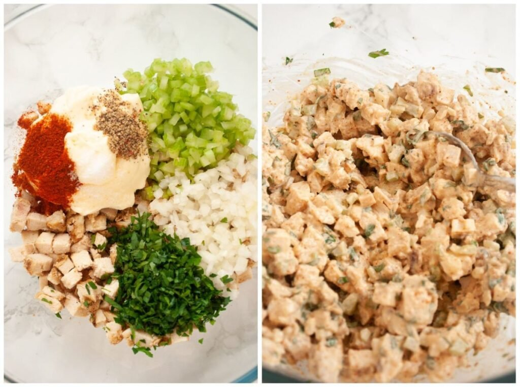a photo collage of piri piri chicken salad ingredients in a bowl and then final mixed salad.