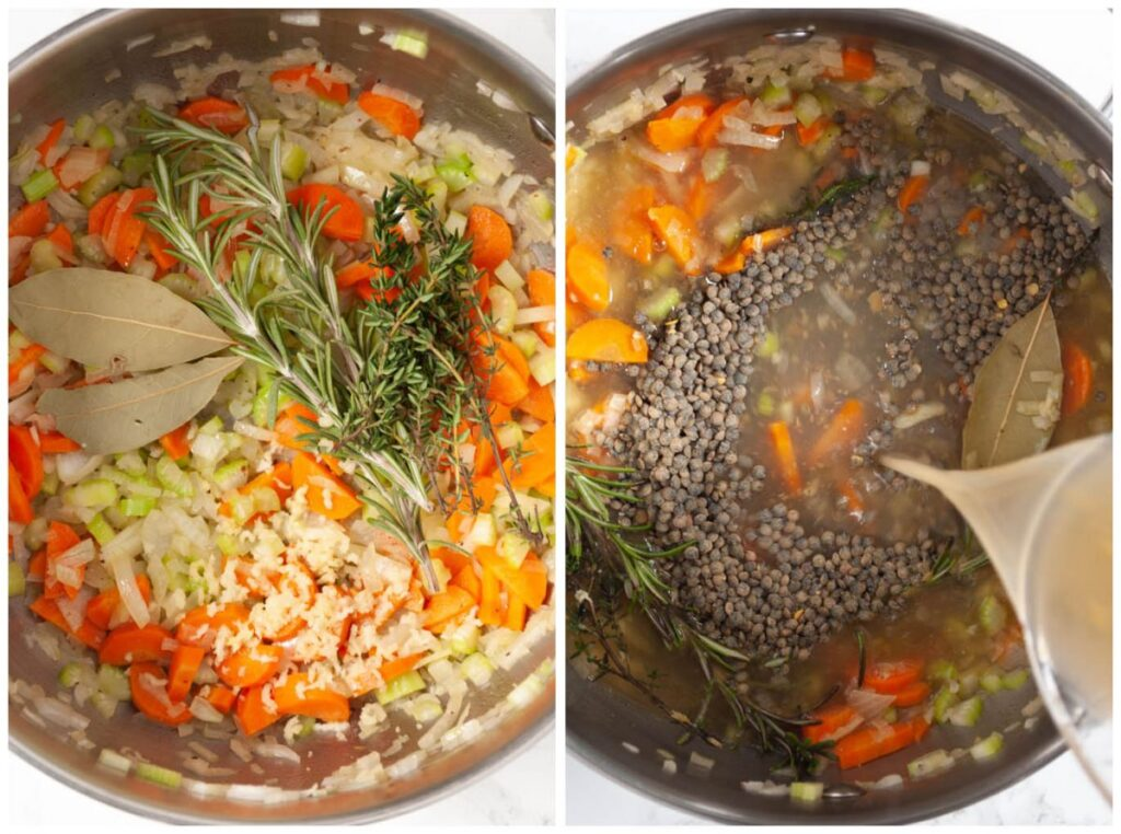 a photo collage or sauteing veggies and adding stock and lentils to the soup