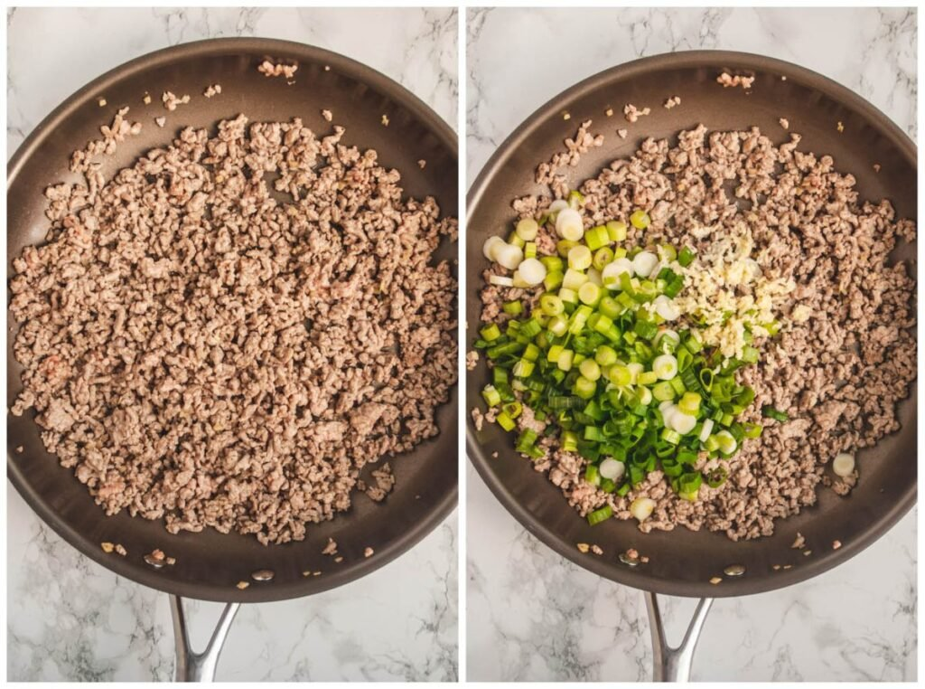 a photo collage of browned pork and green onions in a pan