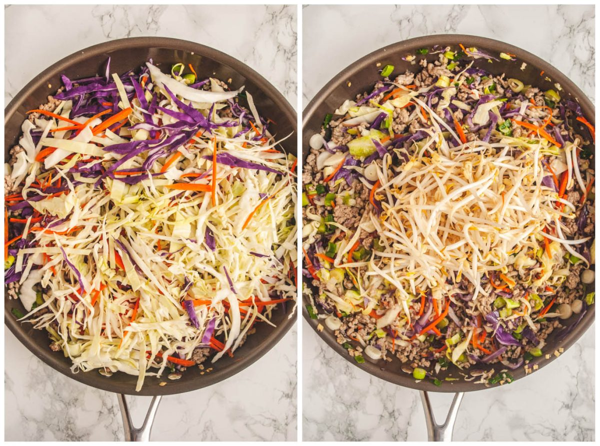 a photo collage of shredded veggies and bean sprouts being added to a skillet