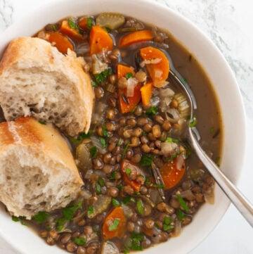 a bowl of French lentil soup