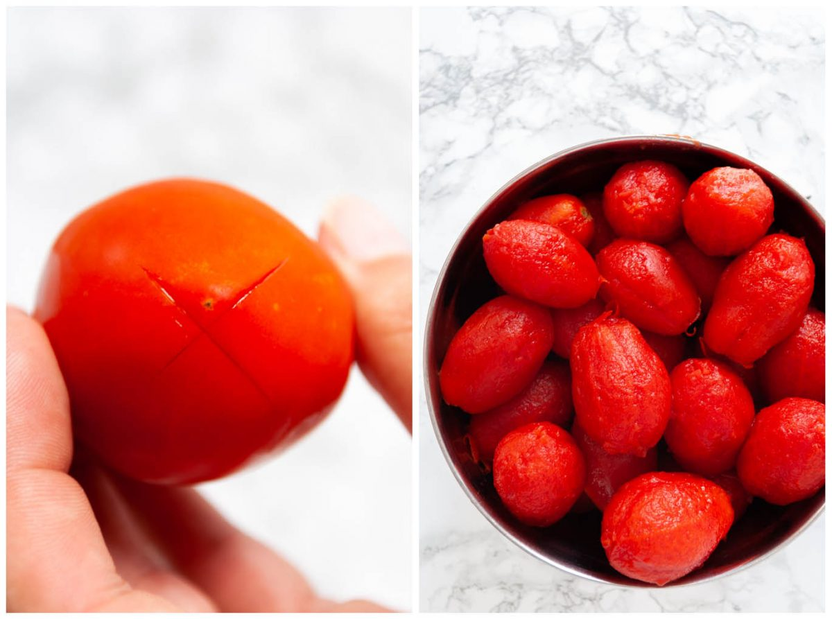 a photo collage of how to peel skins off tomatoes