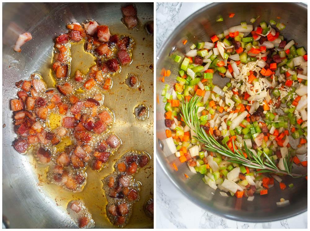 sautéing pancetta and veggies for tuscan bean soup
