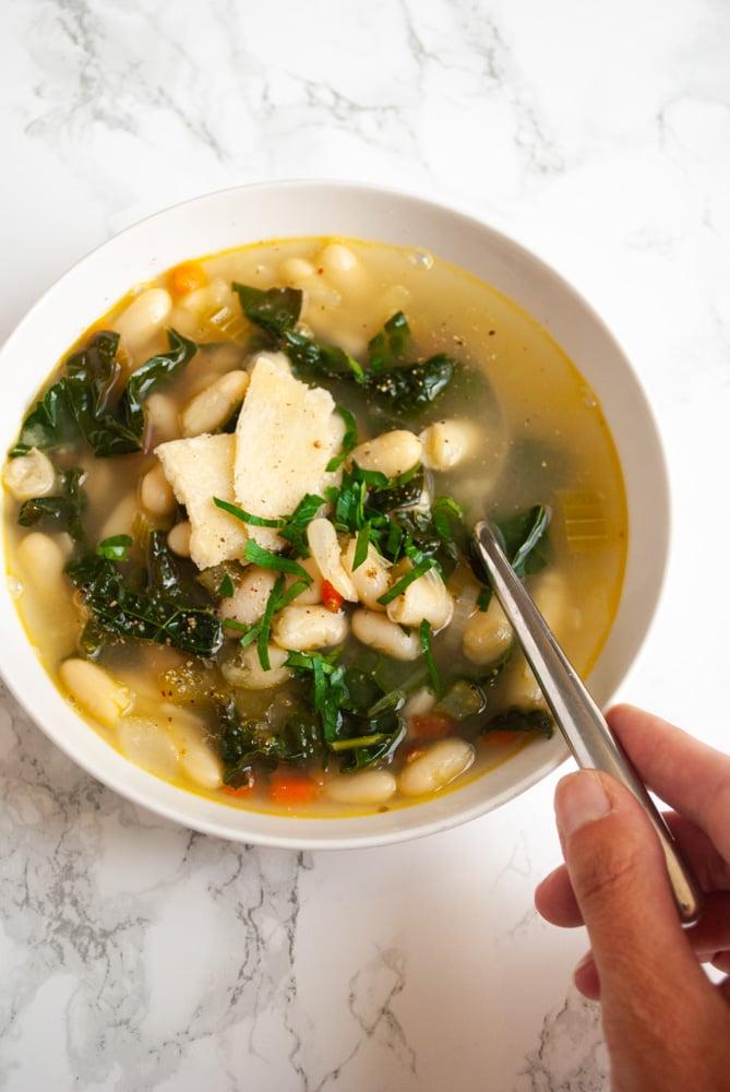 a bowl of Tuscan bean soup