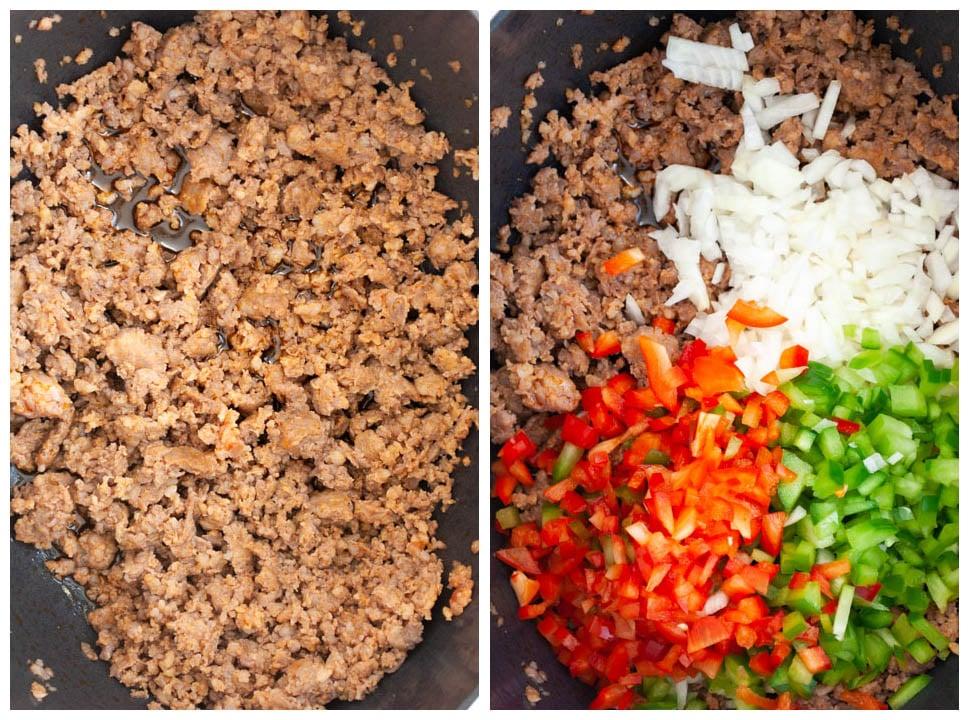 browning sausage and sautéing veggies