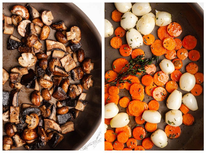 browning mushrooms, carrots and onions in a skillet