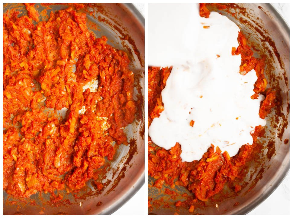 a photo collage of cooked curry paste and pouring coconut milk