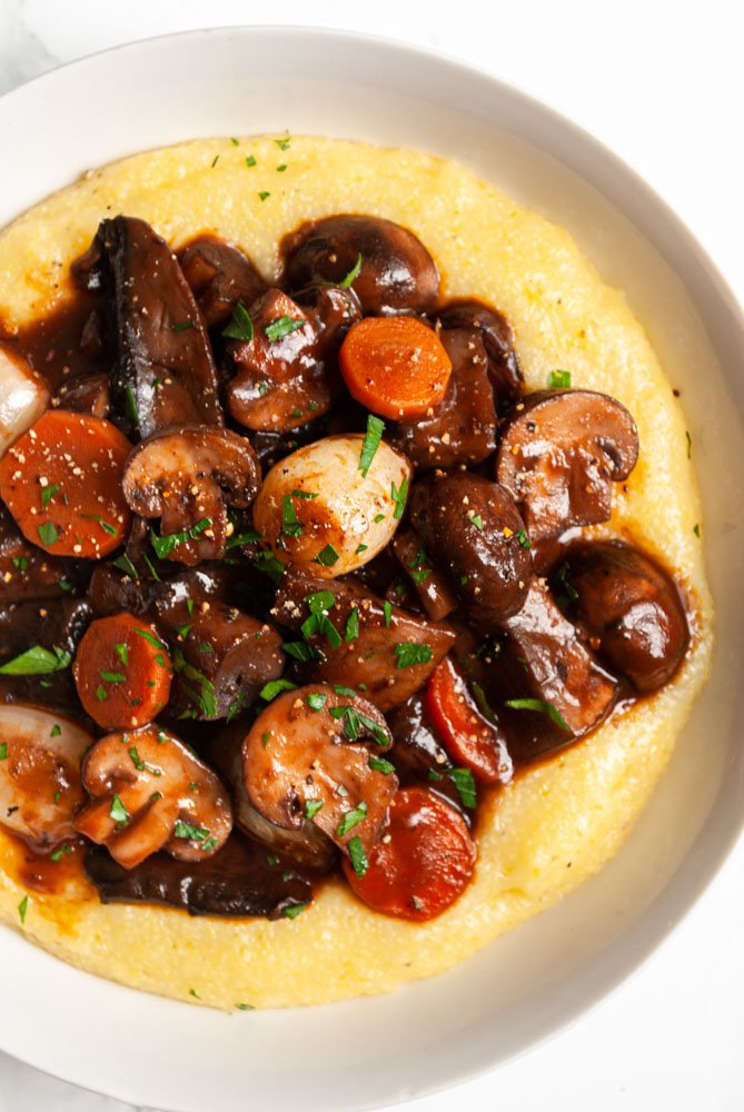 burgundy mushrooms served over polenta