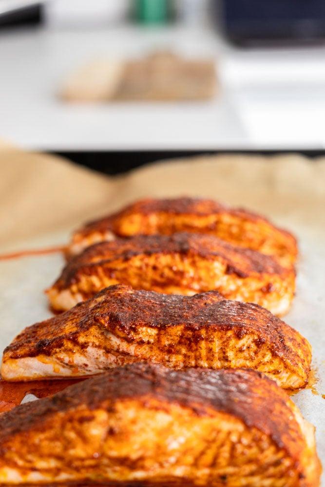 freshly baked tandoori salmon