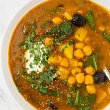 a bowl of moroccan chickpea soup