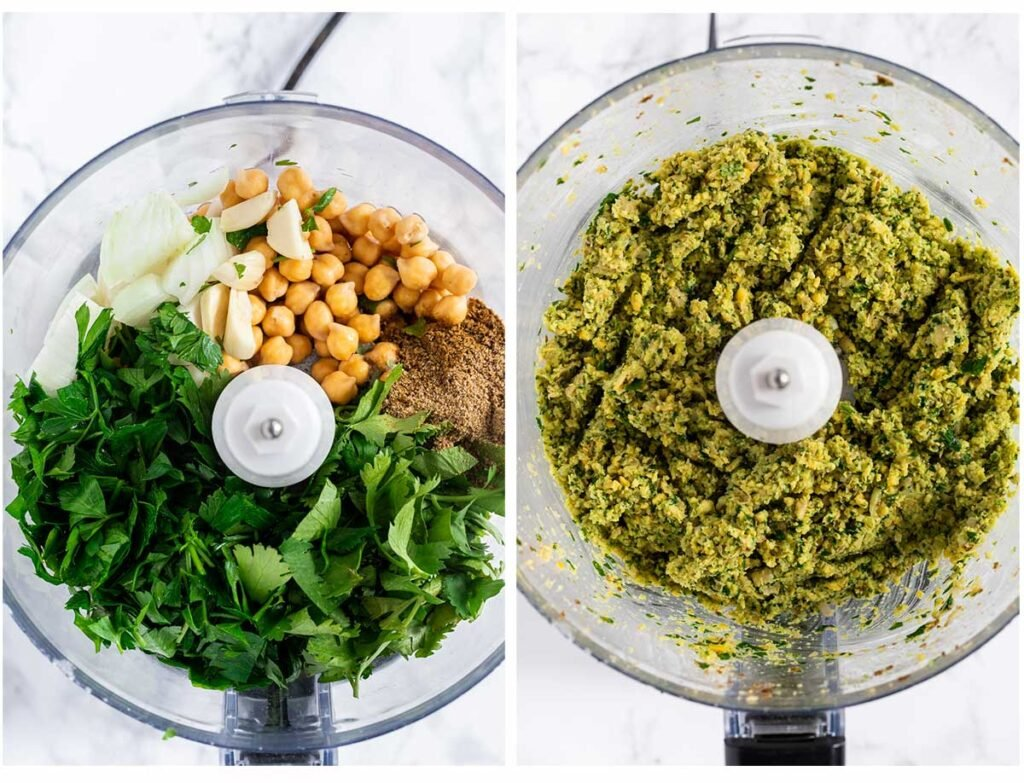 A photo collage of falafel ingredients in a food processor and the final processor mixture.