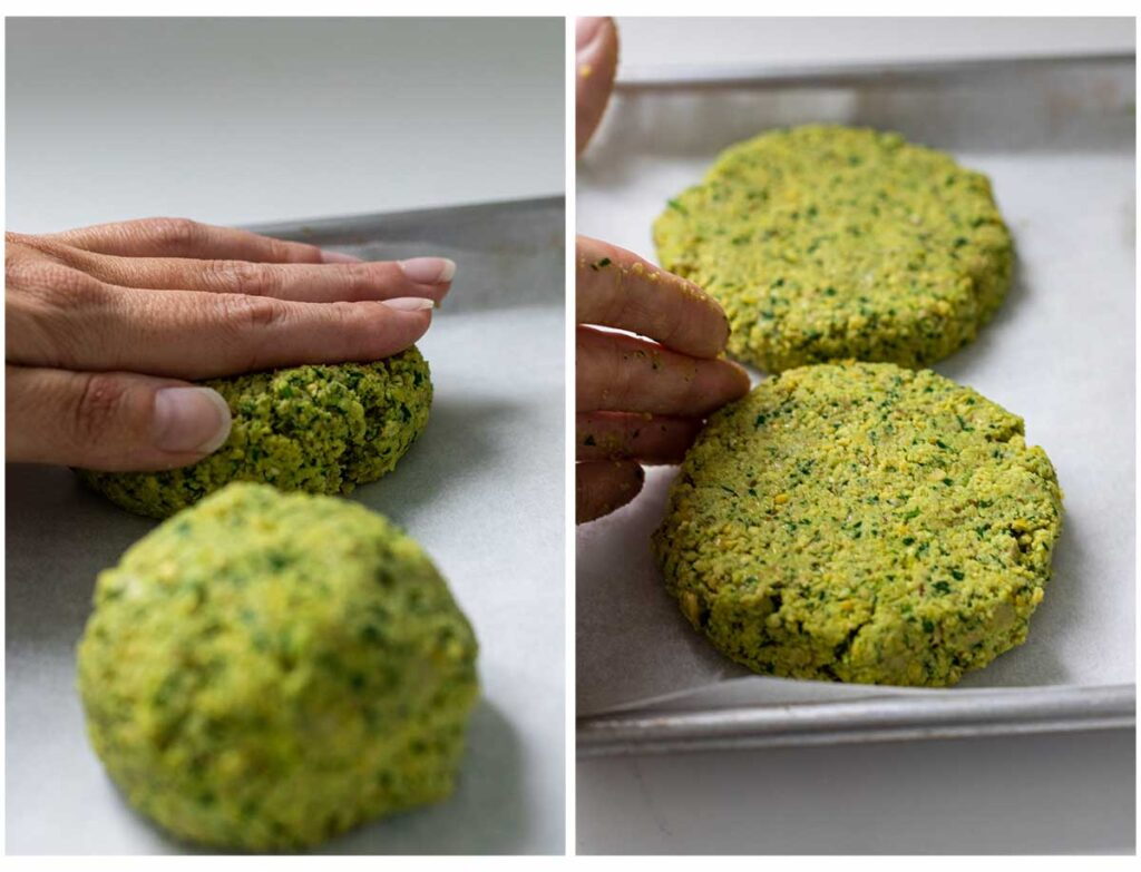 Forming falafel burgers by hand.
