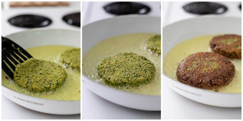 A photo collage of lowering a falafel burger into a skillet with oil and the process of cooking it.