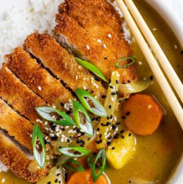 pork katsu curry on a plate