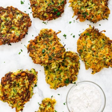 zucchini feta fritters served with sour cream