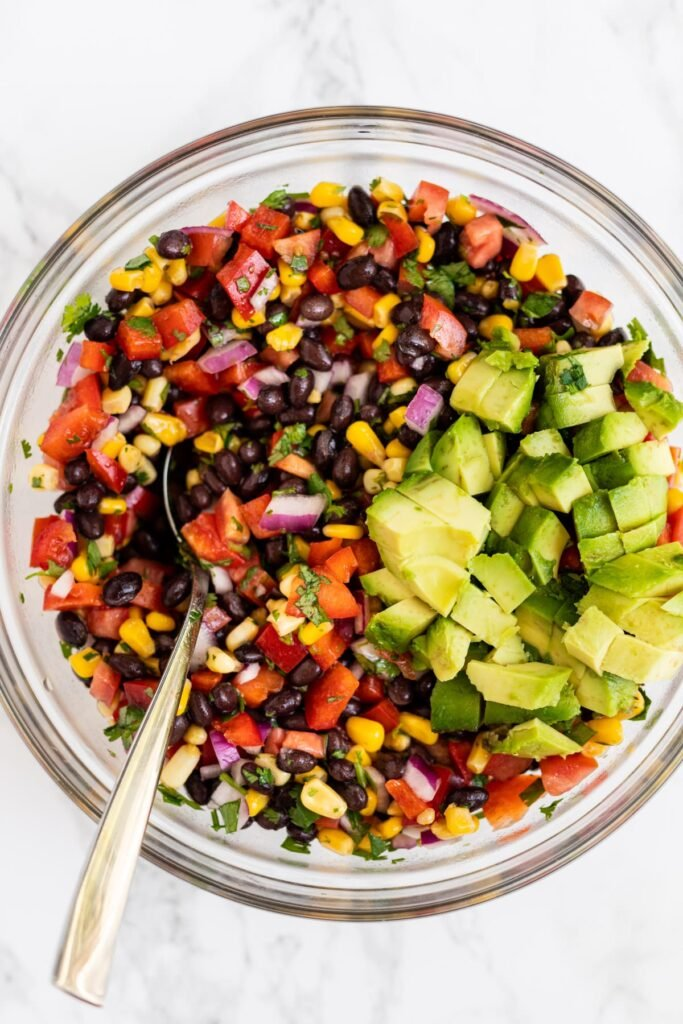 a top down view of black bean and corn salad