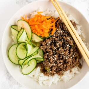 a top down view of a Korean beef bowl