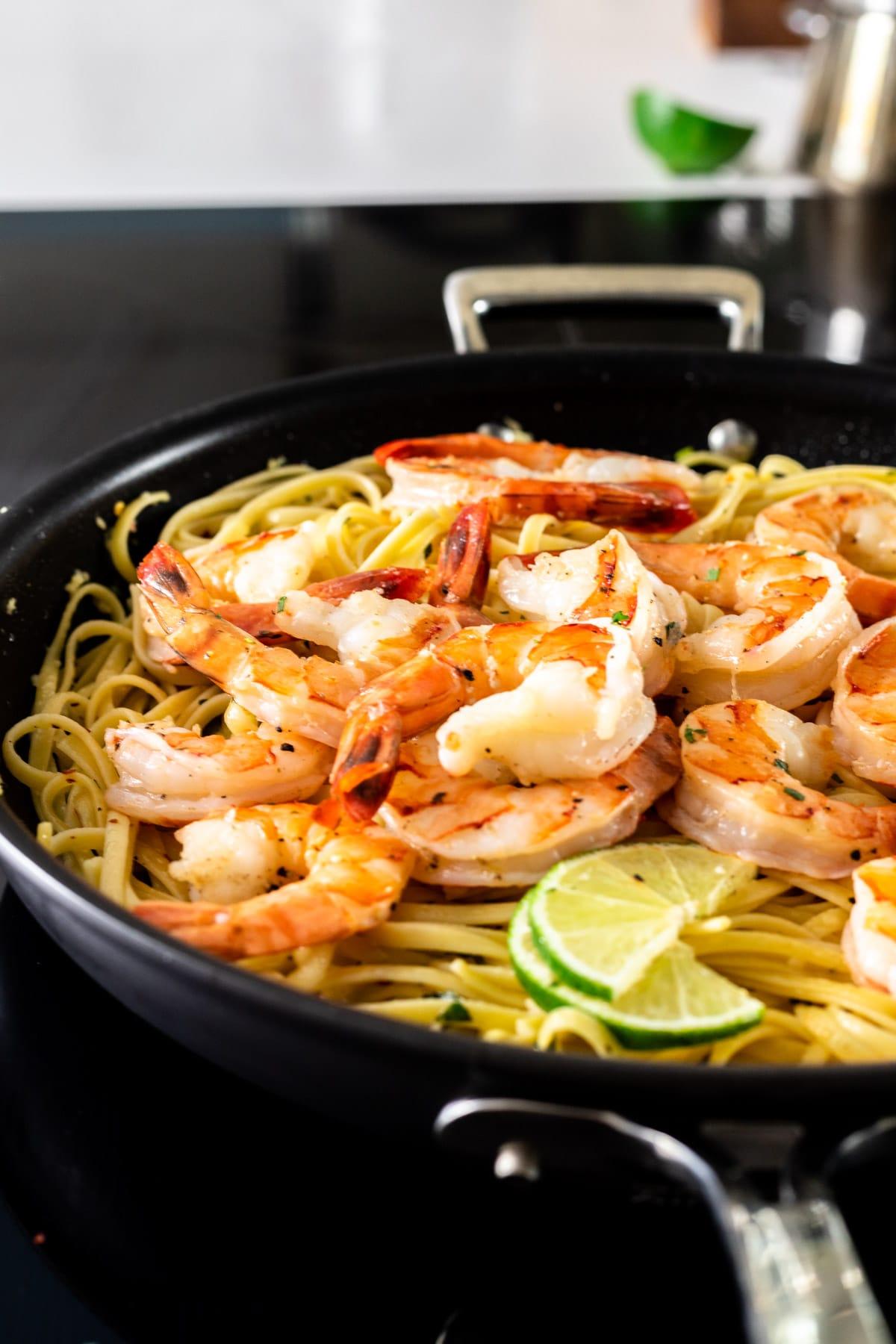 cilantro lime shrimp pasta in a skillet
