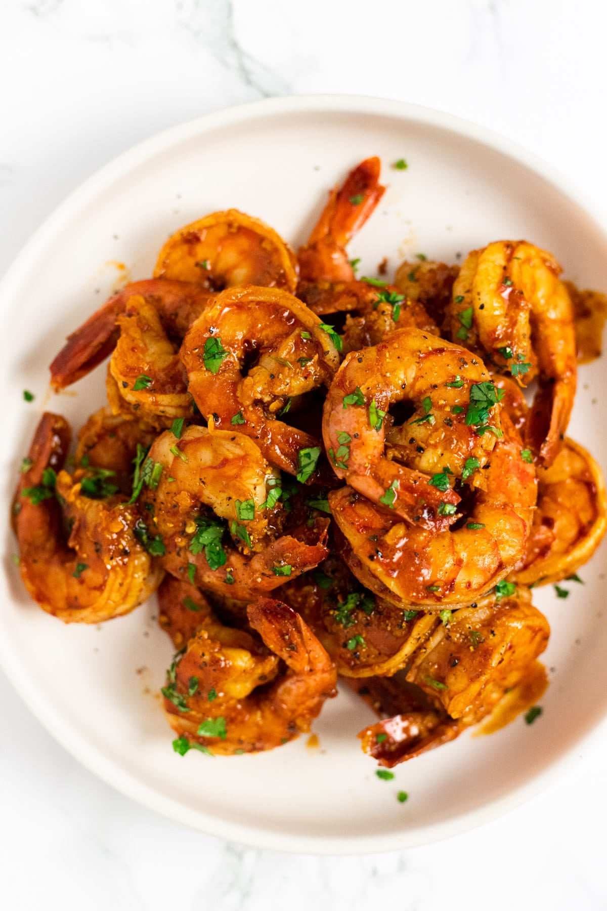 A top down view of a bowl of chili lime shrimp